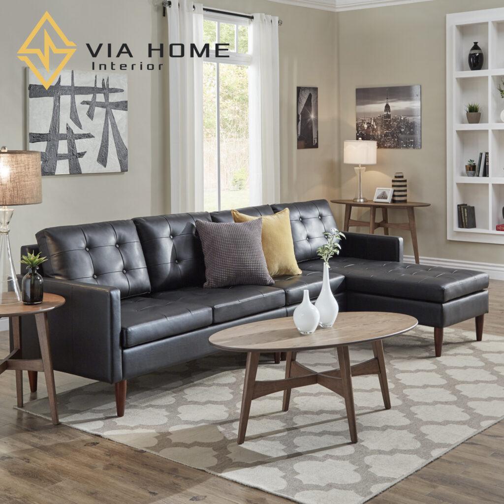 Sofa da màu đen chữ L đáp ứng được tất cả những vẻ đẹp hiện đại của con người