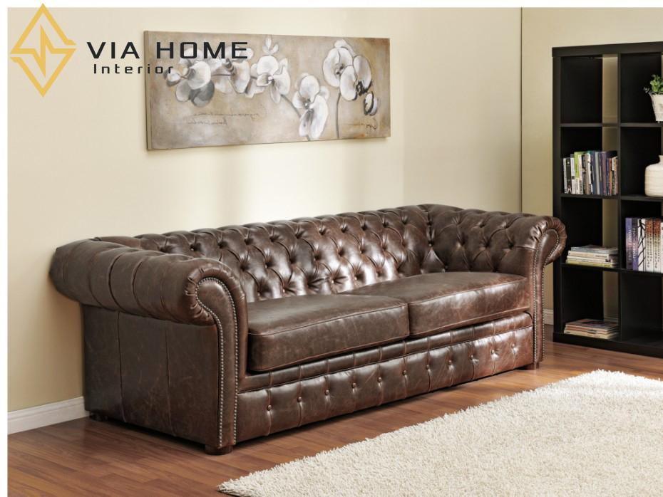 Sofa da nâu cổ điển là một trong những sản phẩm độc đáo được thiết kế từ những chất liệu cao cấp