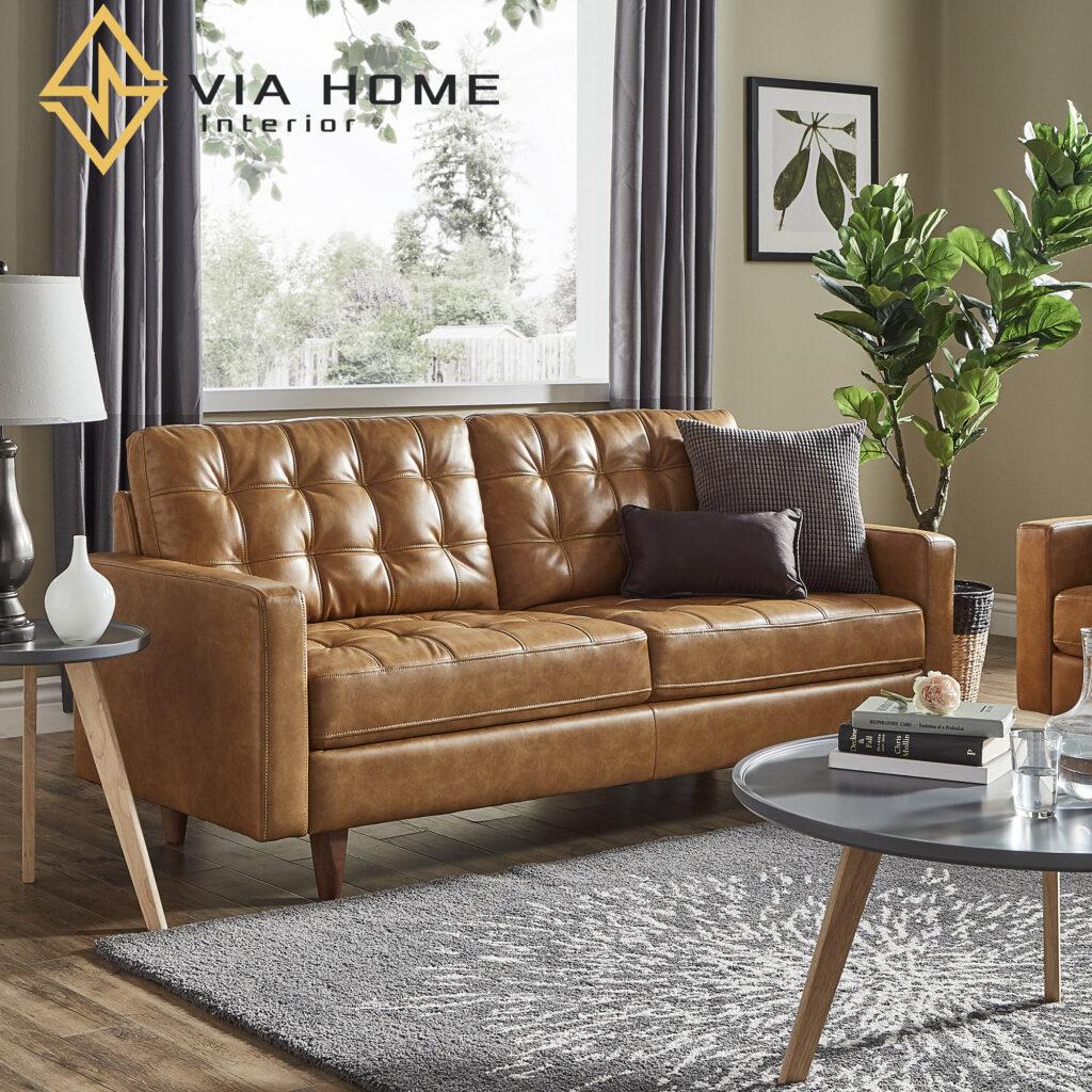 Sofa da đơn mang đến sự sang trọng cho không gian sống của gia đình bạn