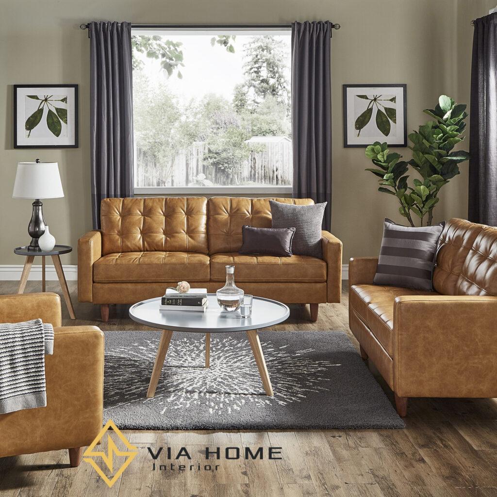 Sofa gỗ bọc da mang phong cách hiện đại, sang trọng