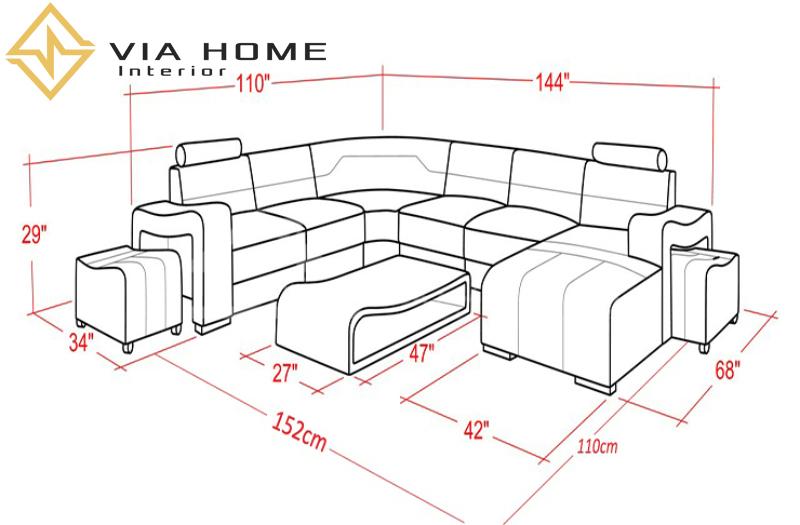 Kích thước của sofa góc chữ U thường phù hợp với không gian rộng rãi.