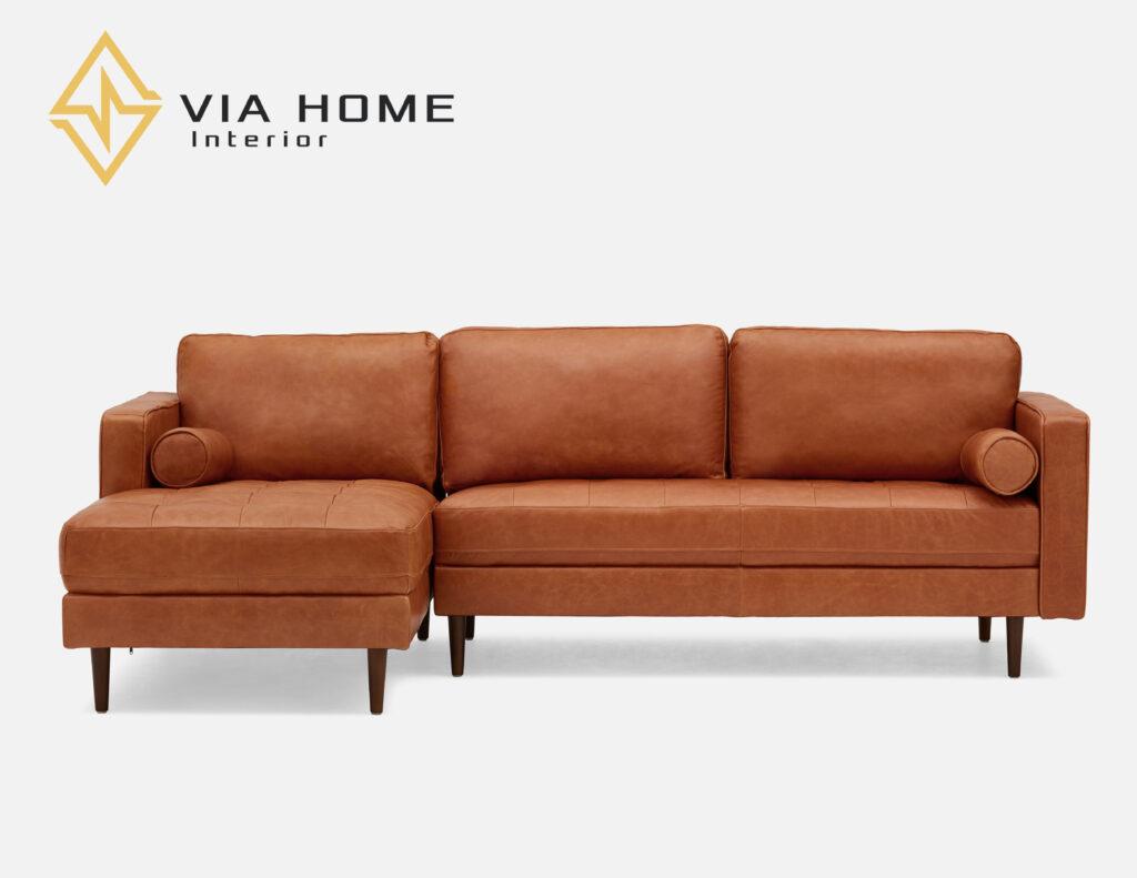 Sofa da bò Ý với gam màu trung tính, đẹp sang trọng của VIA HOME.