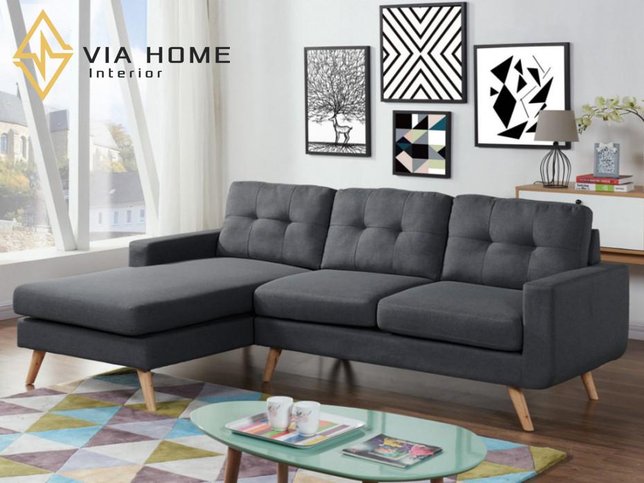 Sofa góc nhỏ làm bằng gỗ đem lại độ bền cao cho sản phẩm