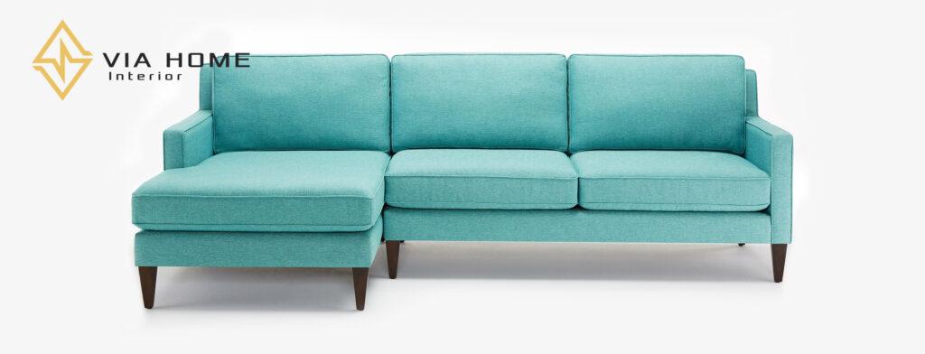 Sofa vải bố chữ L có nhiều mẫu mã, phong phú bởi chính màu sắc và hoa văn của vải